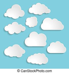 Vector illustration of clouds collection on a blue background