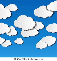 vector illustration of clouds on blue background with place for text