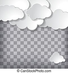 Vector illustration of clouds set on a chequered background