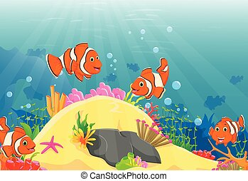 Illustration of clown fish swimming in a deep underwater