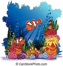 clown fish with sea life background
