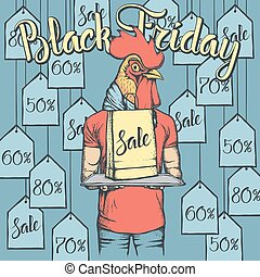 Vector illustration of cock on Black Friday