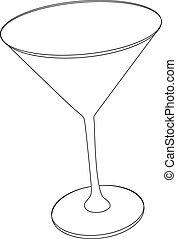Vector illustration of cocktail glass - contour outline
