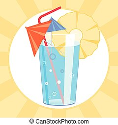 Vector illustration of cocktail with paper umbrellas and straw