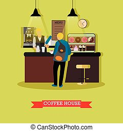 Vector illustration of coffee house design with barista and visitor