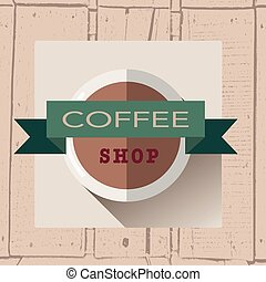 vector illustration of coffee house logo in flat design style on textured wood background