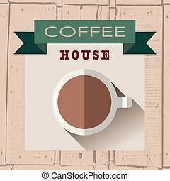 vector illustration of coffee house logoin flat design style on textured wood background
