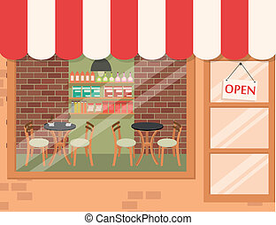 Coffee shop background - Vector Illustration of Coffee shop...