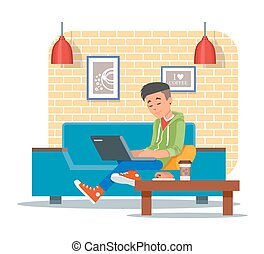 Vector illustration of coffee shop design element, visitor with laptop