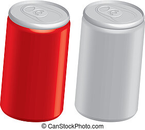vector illustration of cola cans isolated on white