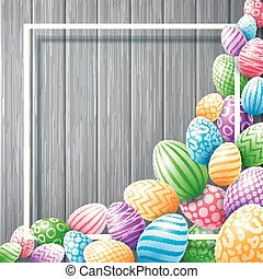 Collection egg colorful with frame empty for text on wooden background