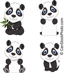 collection funny cartoon panda