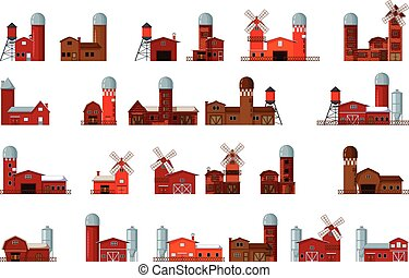 collection of cartoon farm building