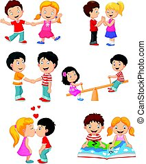 Collection of cartoon kids couple - Vector illustration of...