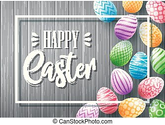 Collection of colorful eggs with frame for text on wood background