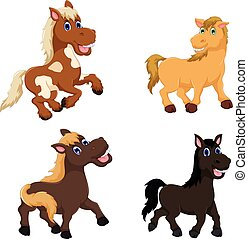 collection of cute horse cartoon