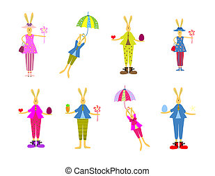 Vector illustration of collection of Easter bunny. Happy Easter design elements set