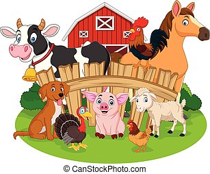 Collection of farm animals cartoon