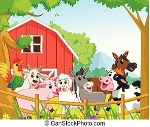 collection of farm animals with background