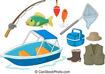Collection of fishing equipment - Vector illustration of...