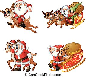 Collection of happy Santa Claus with a sleigh and reindeer