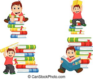Collection of little boy with books