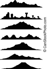 collection of mountain silhouette