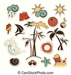 vector illustration of collection of sea beach object