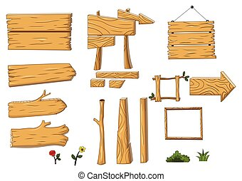 collection of wooden and signboard - vector illustration of...