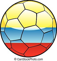 Colombia flag on soccer ball - vector illustration of...