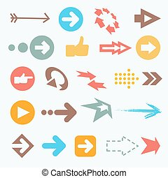 Vector illustration of color arrow icons. Big collection