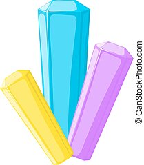 Vector illustration of color crystals on a white background. Cartoon style crystal. Minerals,