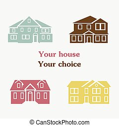 Vector illustration of color house set icons