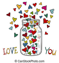 Vector illustration of colored hearts in a glass jar