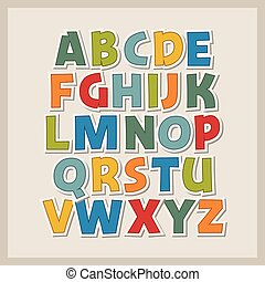 Vector illustration of colored paper alphabet