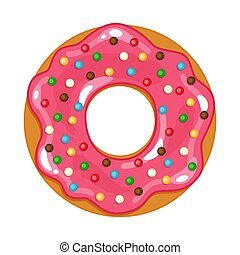 vector illustration of colored realistic donut on white background