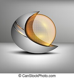 illustration of colored sphere shaped emblem - Vector...