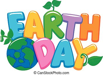 Colorful 3D Earth Day Letters