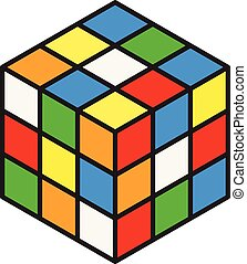Vector illustration of colorful 3d rubik cube.