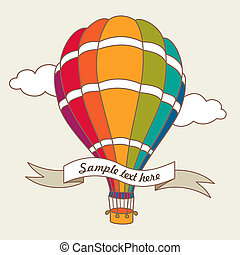Vector illustration of colorful air balloon