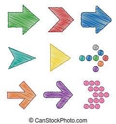 Colorful Arrow pen shading sets
