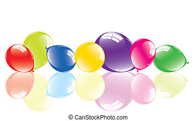 vector illustration of colorful balloons on the floor