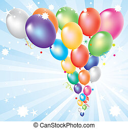 vector illustration of colorful balloons and light-burst