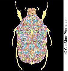 colorful beetle on black background