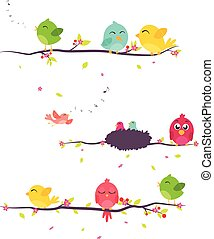 Vector Illustration of colorful Birds on beautiful trees