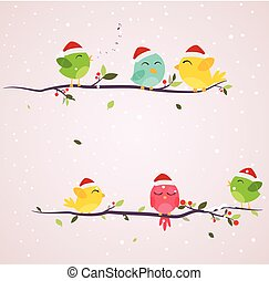 Colorful birds on christmas scene
