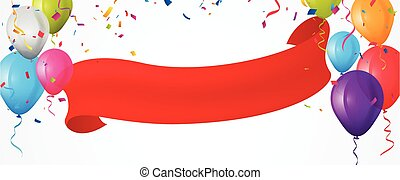 Vector Illustration of Colorful birthday balloon banner with bunting flags and confetti