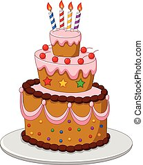 Colorful Birthday cake with candles isolated on white background