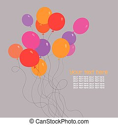 bunch of birthday balloons with space for text