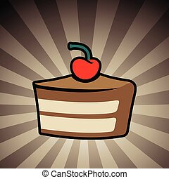 Colorful Cake Icon on a Brown Striped Background - Vector...